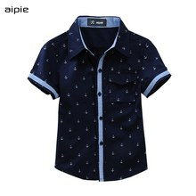 New 2020 Summer Children shirts Printing Anchor pattern Cotton 100% Short-sleeved Boy's shirts Fit for  3-14 Years kids shirts