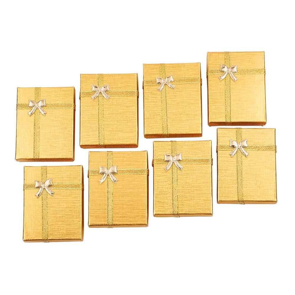 12 sztuk kartonowe pudełka na biżuterię Packaing Bowknot srebrny prostokąt przypadki na kolczyki naszyjniki wisiorki wyświetlacz 9x7x3cm PANDAHALL