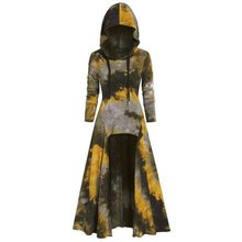 Gothic Printed Hooded Long Sleeve Dress Women Winter Autumn Color Block Hoody Pullovers Plus Size 2XL Black Purple Long Dress vintage color block long sleeve pin up dress