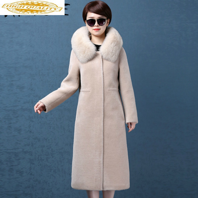 Real Fur Coat Women Sheep Shearing Winter Coat Women Korean Fox Fur Collar Jacket Women Abrigo Mujer NK786 YY1433