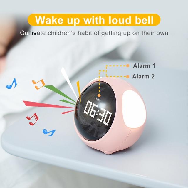 Cute Night Light Alarm Clock LED Smart Kids Digital Clock Home Decor For Children Room Sleep Trainer Lamp Clocks Kids Xmas Gift 2