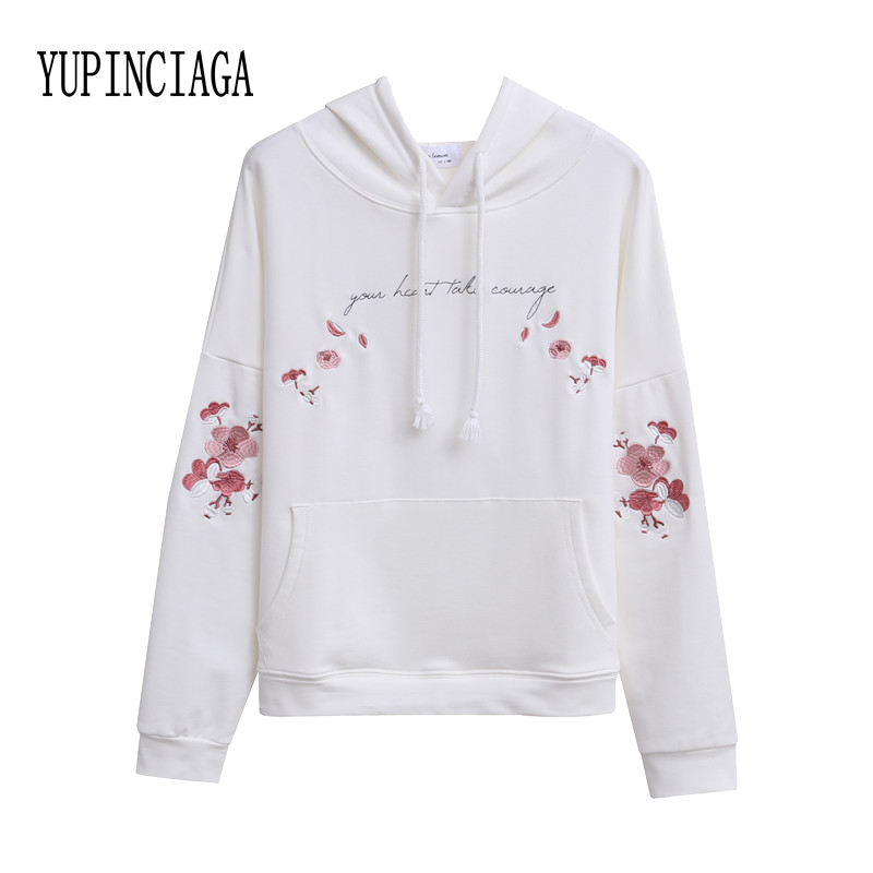 Women's Hoodies Sweatshirts Off White Harajuku Floral Embroidered  Kawaii Long Sleeve Casual Loose Teen Pullovers YUPINCIAGA