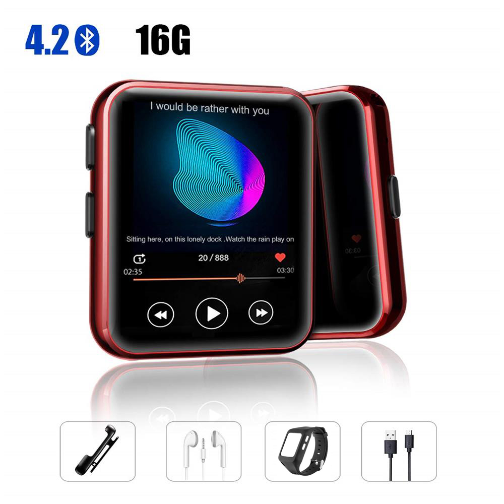 Mini Clip MP3 Player Bluetooth with 1.5 Inch Touch Screen Portable MP3 Music Player HiFi Metal Audio Player with FM for Running
