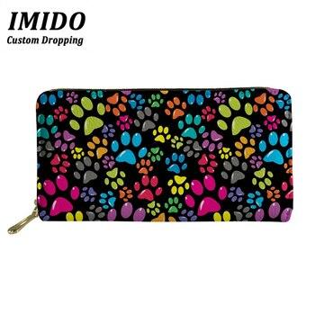 Fashion Women Wallets Rainbow Dog Paw Pattern Multifunction Zipper Purses Wallet Bag Cellphone Cash 2019