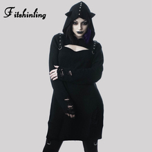 Fitshinling Cut Out Rivet Gothic Dress Ripped Vintage Black Hoodies Dresses For Women Autumn Winter Harajuku Slim Vestidos Sale