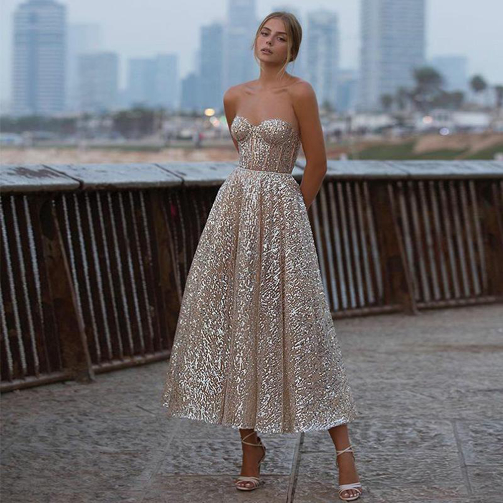 Sevintage New Glitter A Line Short Prom Dress Sweetheart Backless Ankle Length Evening Gowns Shiny 2021Women Formal Party Dress
