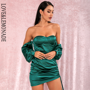 Image 4 - LOVE & limonada vestido verde sexi con hombros descubiertos, minivestido de fiesta, mangas sueltas, Ceñido