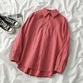 Весенняя популярная женская блузка, Повседневная Свободная верхняя одежда с длинным рукавом, топы, уличные женские однобортные рубашки с л...