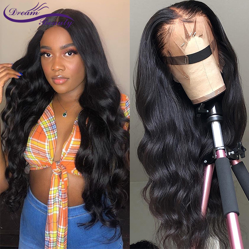 13x4 Glueless Lace Front Wigs Body Wave Brazilian Non-Remy Human Wigs Pre Plucked Hairline Lace Wigs Dream Beauty