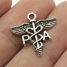 Diy-Accessories Symbol Medical-Caduceus Pendant Jewelry-Findings Charms Silver-Color