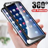 360 custodia rigida per Samsung Galaxy Note 10 S10 8 9 3 4 5 S5 S6 S7 Edge S8 S9 S10E Plus Pro Lite 2020 con copertura completa in vetro