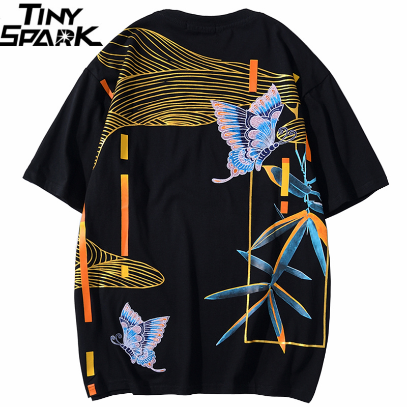 2020 T Shirt Hip Hop Men Streetwear Chinese Embroidery Butterfly Tshirt Harajuku Summer Short Sleeve T-Shirt Cotton Tops Tees