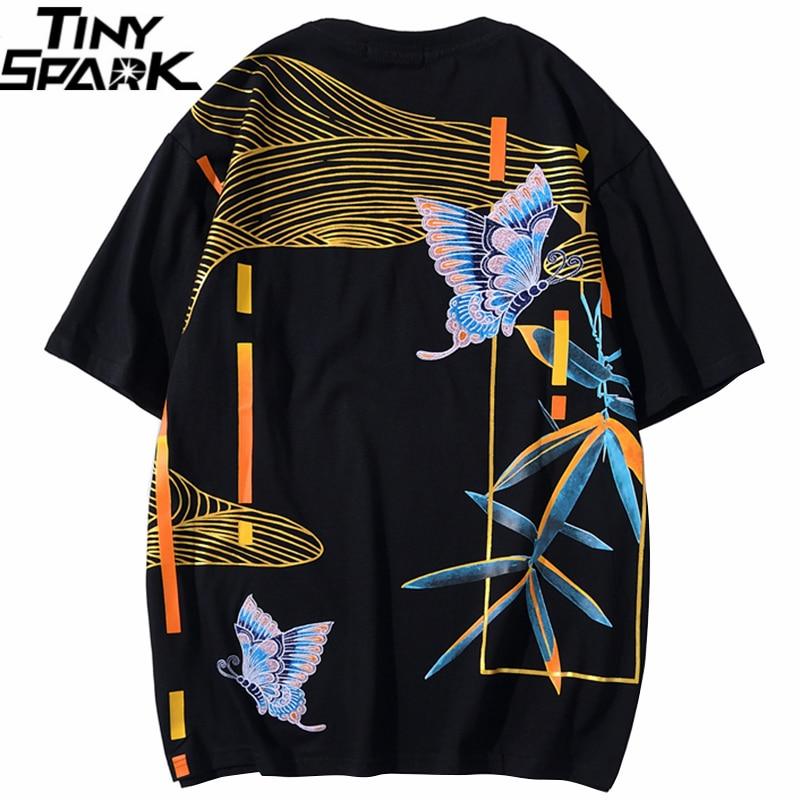 2020 T Shirt Hip Hop Men Streetwear Chinese Embroidery Butterfly Tshirt Harajuku Summer Short Sleeve T-Shirt Cotton Tops Tees