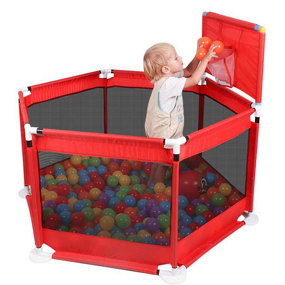Bayi Bola Kolam Renang Anak Boks Nyaman Luar Ruangan Games Pagar Lipat Kering Kolam Renang Bola Lubang dengan Keranjang Bermain Tanah untuk anak-anak