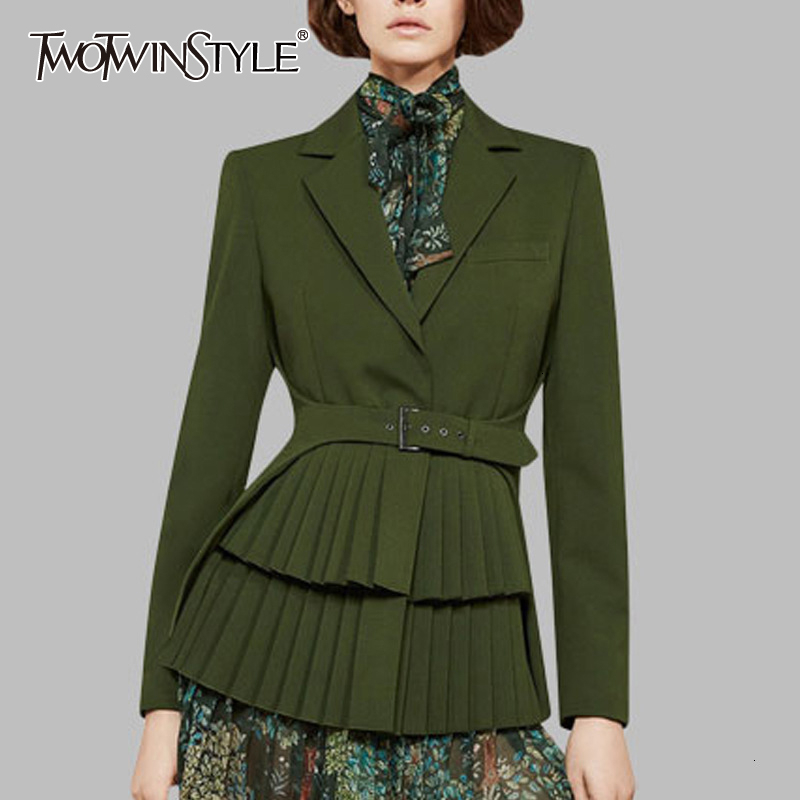 TWOTWINSTYLE Slim Patchwork Pleated Women's Blazers Notched Long Sleeve High Wait Sashes Tunic Autumn Female Suits 2020 Fashion