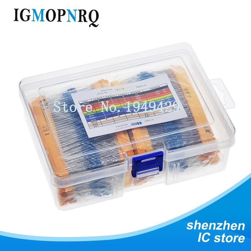 2600pcs 130 Values 1/4W 0.25W 1% Metal Film Resistors Assorted Pack Kit box Set Lot Resistors Assortment Kits resistor