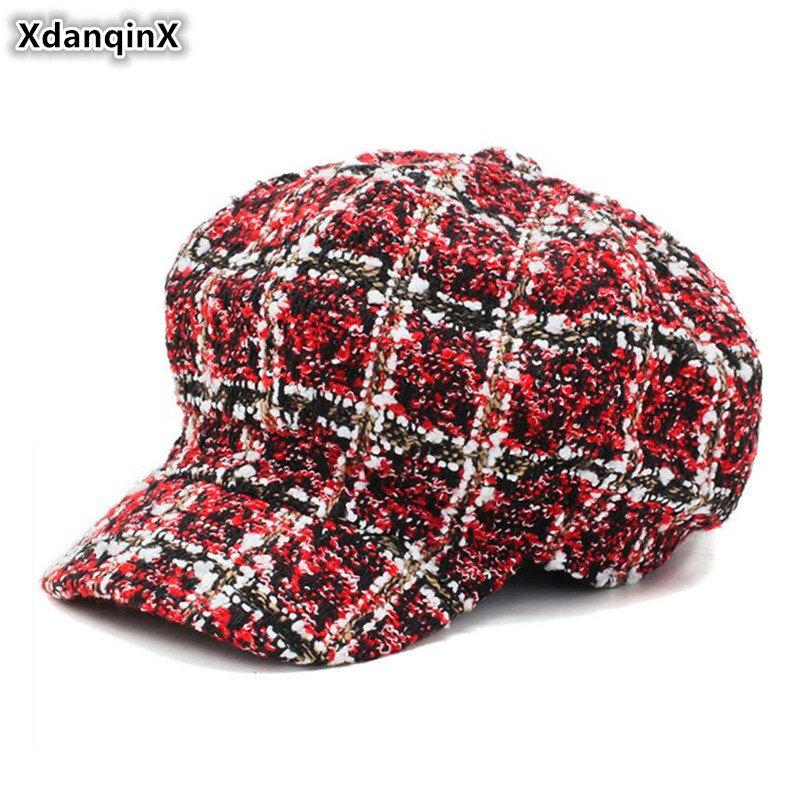 XdanqinX Novelty Plaid Women's Newsboy Caps Elegant Ladies Fashion Hat Vintage Trend Sports Cap Autumn Winter New Female Hats