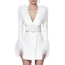 2020 נשים חורף חם אלגנטי לבן Midi שמלת מעיל ארוך שרוול נוצות V צוואר סקסי סלבריטאים המפלגה לילה שמלות Vestidos
