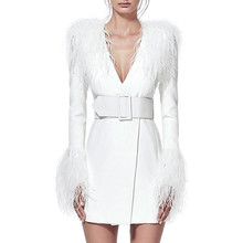 2020 Women Winter Warm Elegant White Midi Dress Jacket Long Sleeve Feathers V Neck Sexy Celebrity Party Night Dresses Vestidos