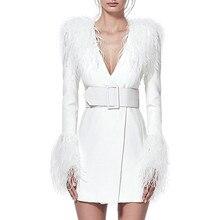 2020 kobiet zima ciepły elegancki biały Midi marynarka strój z długim rękawem pióra dekolt seksowna celebrytka nocna impreza sukienki Vestidos