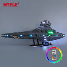 Mtele marca led light up kit para imperial star destroyer compatível com 75252
