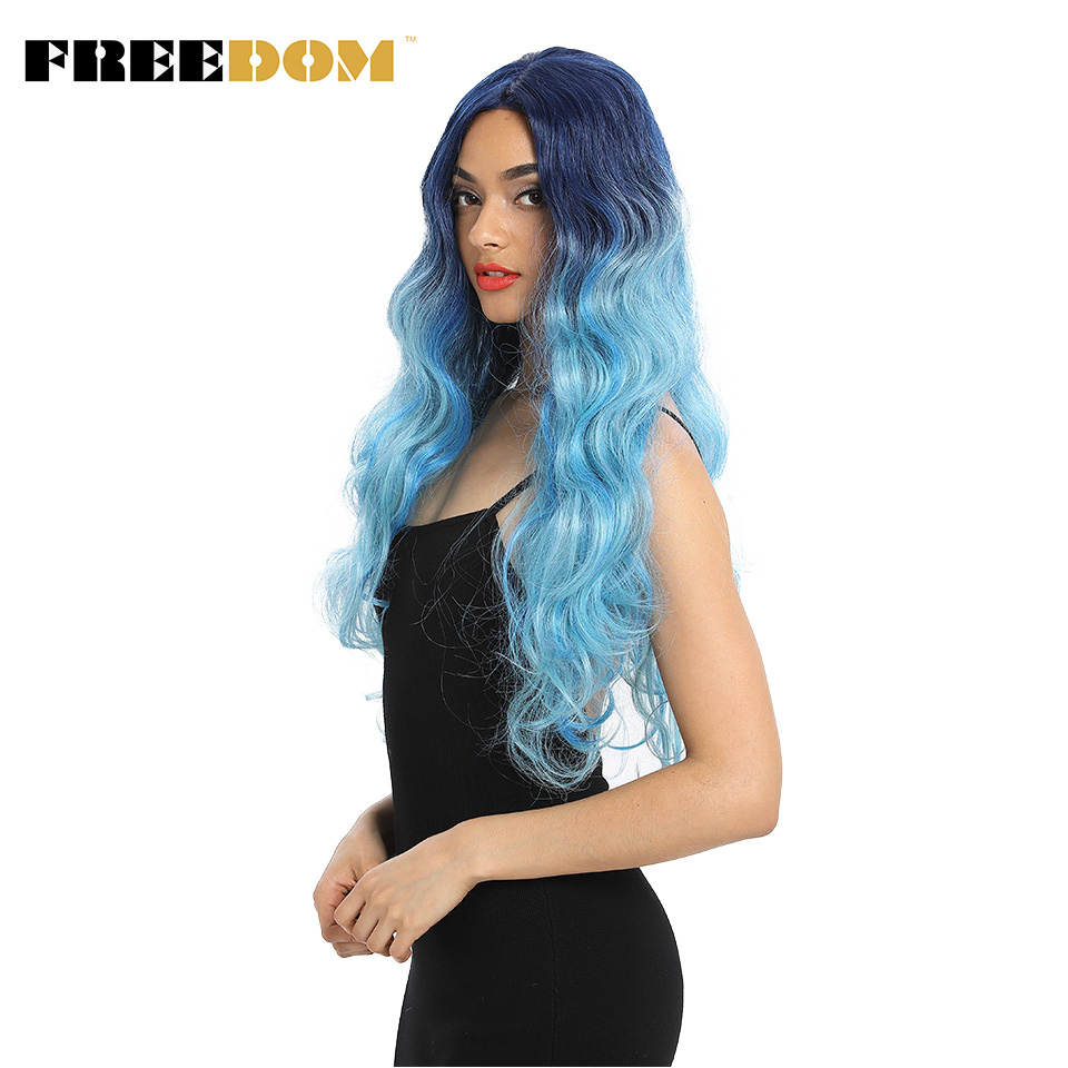 FREEDOM Synthetic Lace Front Wigs Long Body Wave 30inch Omber Blond Natural Color Hair Wigs Heat Resistant Fiber Daily Life Wigs