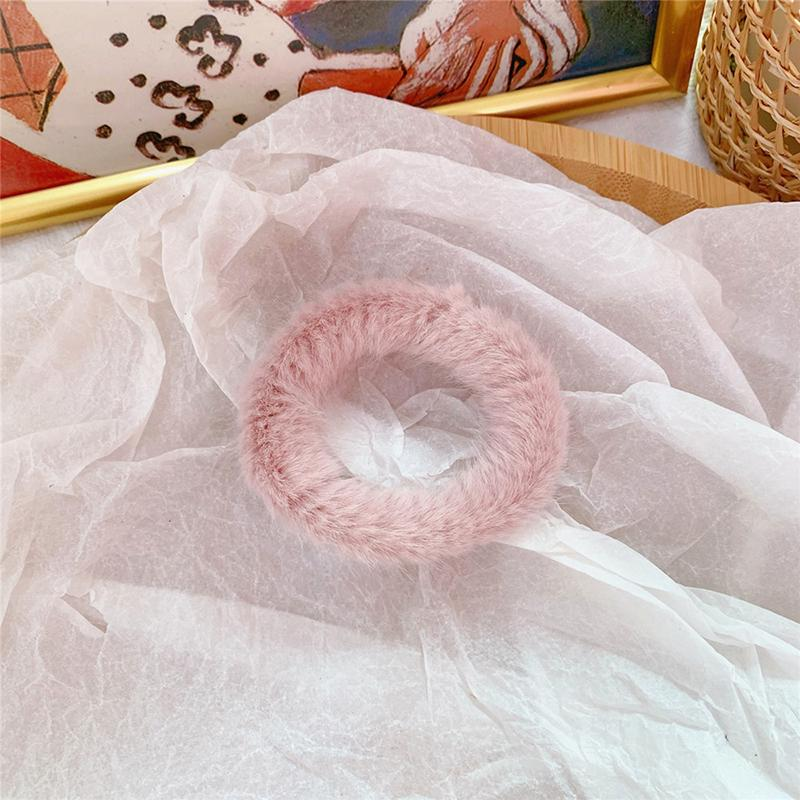 Мягкая Плюшевая повязка для волос резинки для волос натуральный мех кроличья шерсть мягкие эластичные резинки для волос для девочек однотонный цветной хвост резинки для волос для женщин - Цвет: 43