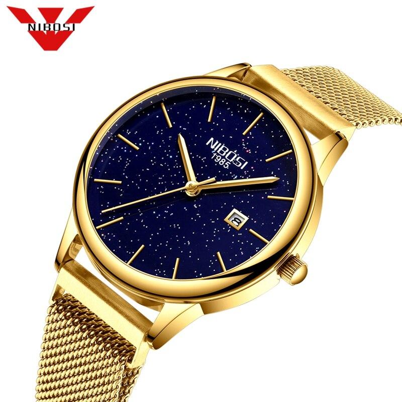NIBOSI Women Watches Quartz Watches Stainless Steel Woman Watch Gold Blue Ladies Watches Top Brand Luxury Clock Relogio Feminino