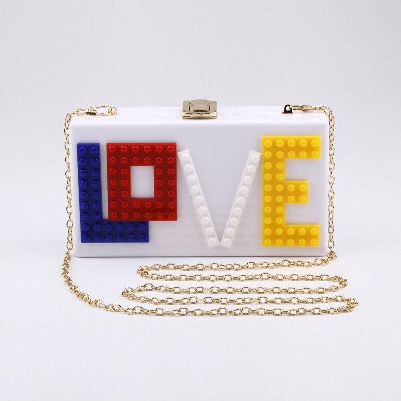 Women Bag Flap Fashion Chain Shoulder Bags Letter Block Puzzle LOVE Purses Luxury Handbags Women Bags Designer Lovely