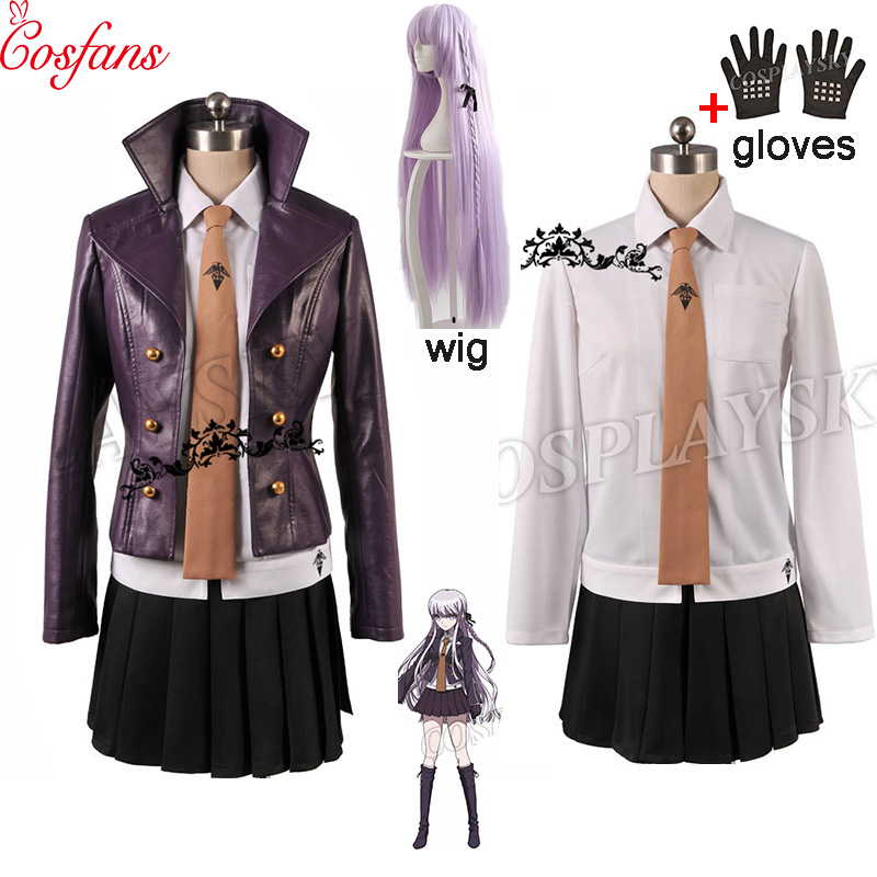 Danganronpa Dangan-Ronpa Kyoko Kirigiri Women Cosplay Costume Dress Set With Gloves Halloween Cosplay Costume And Wig Shirt Tie