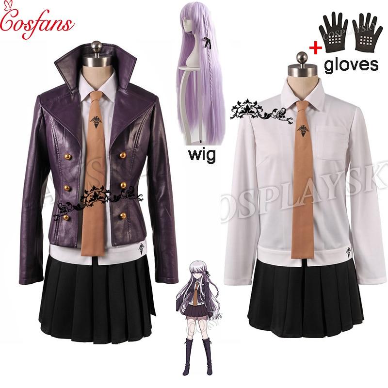 Danganronpa Dangan-Ronpa Kyoko Kirigiri Women Cosplay Costume Dress Set With Gloves Halloween Cosplay Costume And Wig Shirt Tie