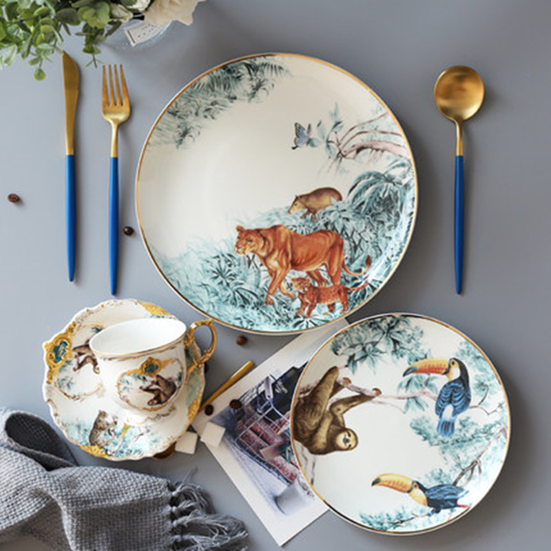 Fangqi Rainforest Ceramic Tableware Chinese Skeletal Animal Dessert Fruit Plate Home Porcelain Decoration Delivery Free|Dishes & Plates| |  - title=
