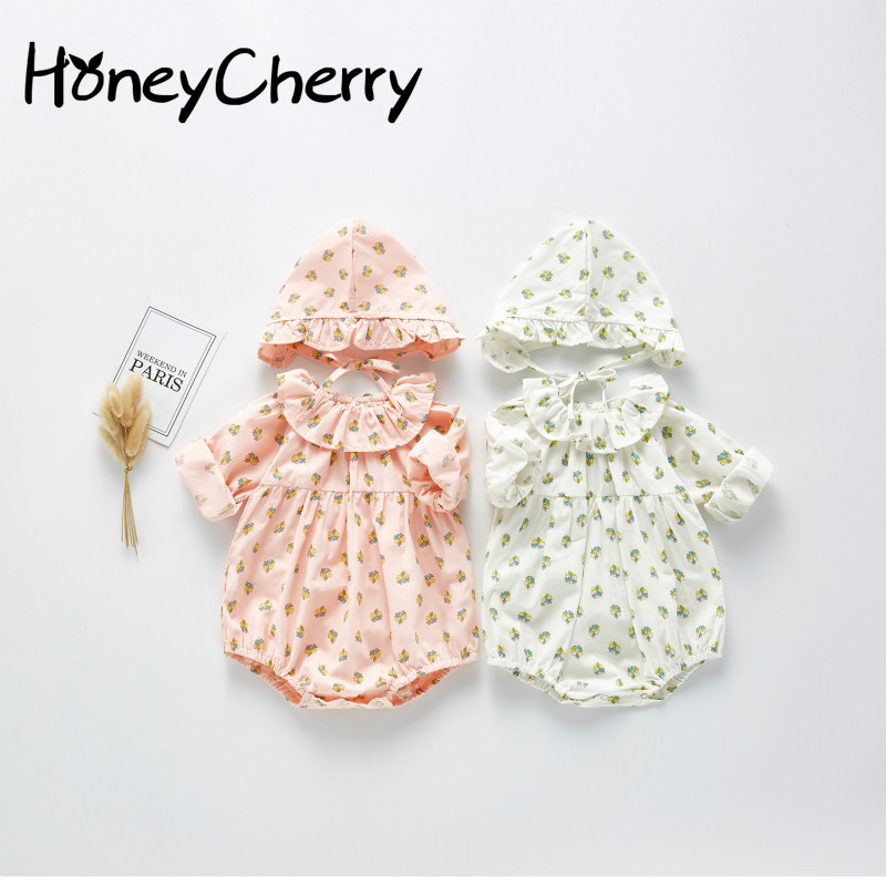 2020 Spring Baby Bodysuit Baby Girl's Little Flower Hooded Bodysuit Long Sleeve Creeper One Piece Outerwear Baby Girl Clothes