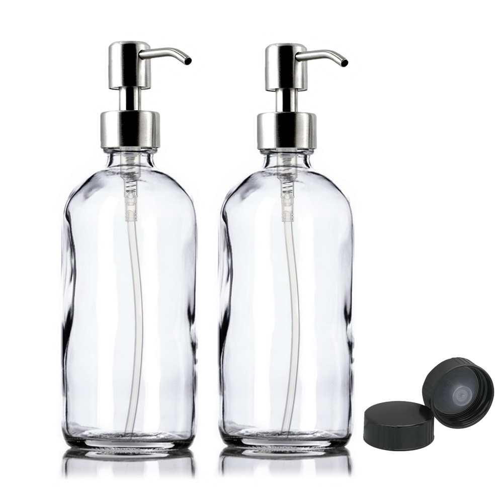 2pcs 500ml Liquid Soap Dispenser Empty Glass Pump Bottles With Stainless Steel Pump For Hand Sanitizer Disinfectant Gel Shampoo