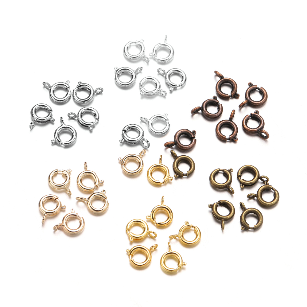 30pcs/lot Gold  Spring Ring Clasp With Open Jump Ring Jewelry Clasp For Chain Necklace Bracelet Connectors Jewelry Making