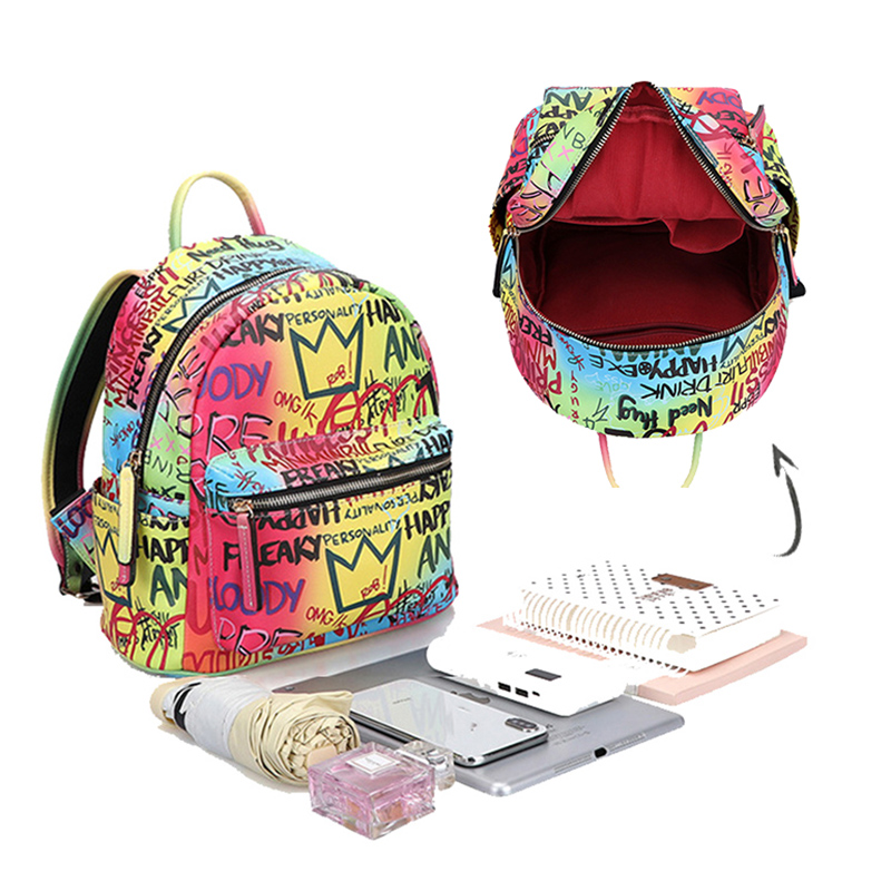 2020 New Arrival Brand High Quality Graffiti Backpack For Women Designer Back Bag Large Capacity Rainbow Colorful Pu Leather Bag