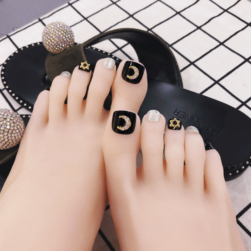 Toenails Patch Nail Sticker New Style Moon And Stars Long-lasting Waterproof Prosthetic Foot Nail Patch South Korea Nail Tip Fin