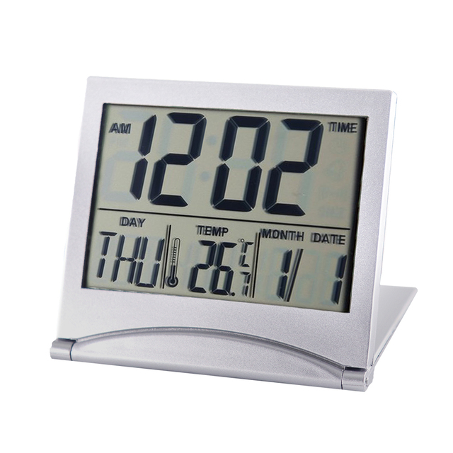 Folding LCD Digital Alarm Clock Desk Table Weather Station Desk Temperature Travel Ectronic Mini Clock 1
