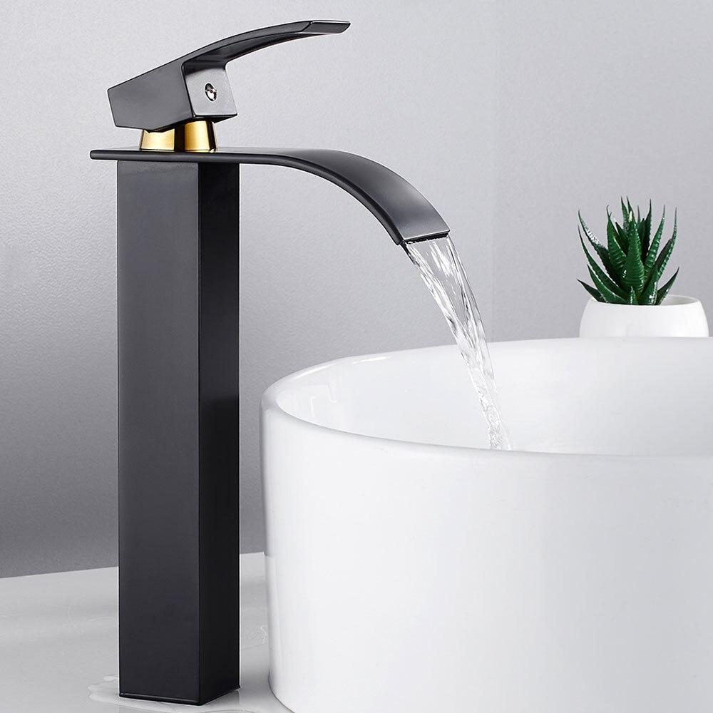 Salle de bain bassin robinet pont montage cascade salle de bain robinet vanité navire éviers mitigeur mitigeur robinet d'eau froide et chaude
