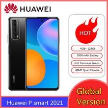 Huawei-teléfono inteligente P smart 2021, versión Global, 4GB, 128 GB, NFC, Quad AI, batería de 5000 mAh, pantalla 6,67 sin marco