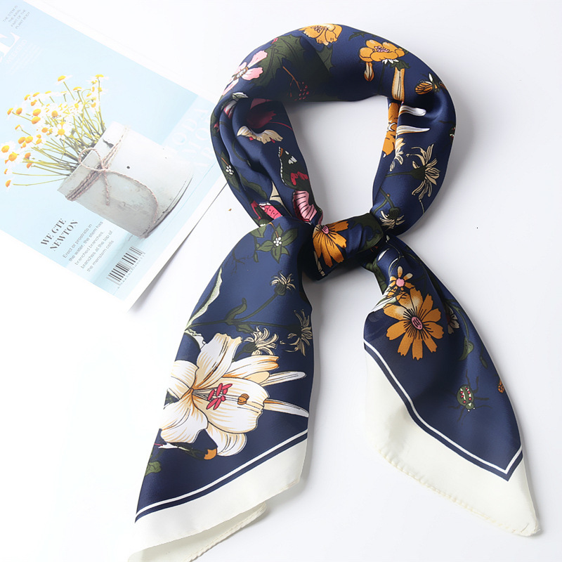 Silk Satin Women Square Scarf FlowerPrint Ladies Wrap Bandana Head Hair Scarf Shawls Bag Accessories Handkerchief 70*70CM