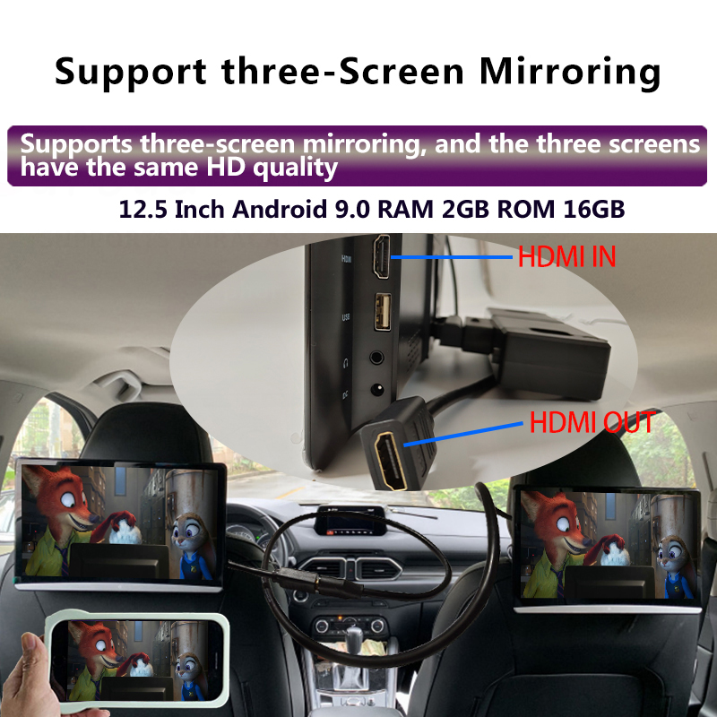 12.5 Inch Android 10.0 2GB+16GB Car Headrest Monitor Same Screen 4K 1080P MP5 WIFI/Bluetooth/USB/SD/HDMI/FM/Mirror Link/Miracast