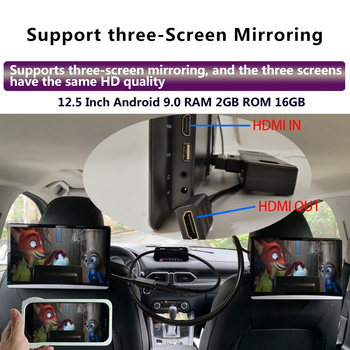 12.5 Inch Android 9.0 2GB+16GB Car Headrest Monitor Same Screen 4K 1080P MP5 WIFI/Bluetooth/USB/SD/HDMI/FM/Mirror Link/Miracast
