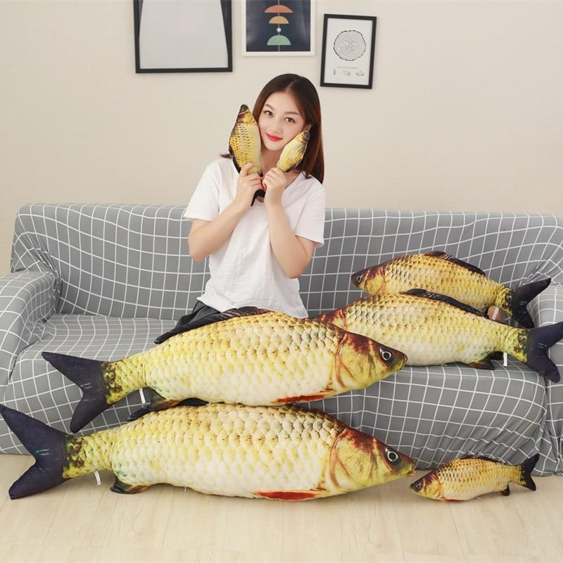 20-100cm 3D Simulation Carp Weever Plush Pillow Stuffed Cute Animal Fish Toys Dolls Kids Baby Children Creative Christmas Gift