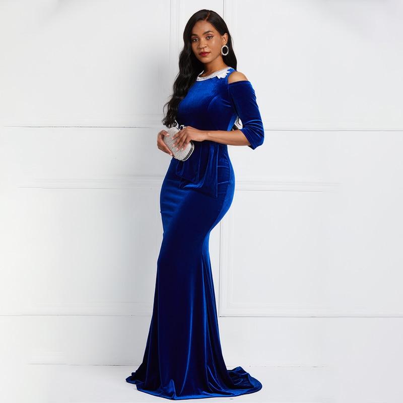Royal Blue Scoop Neck Evening Dress Sexy Mermaid Fashion 3/4 Sleeves Prom Evening Ladies Elegant Party Evening Dresses
