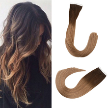 Toysww Adhesive European Remy Human Hair Tape Hair Extensions 20pcs 40pcs Ombre Balyage Colors Skin Weft Straight Hair
