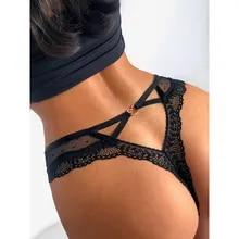 Underwear Lingerie Thong G-String Panties Women Low-Waist Sexy Lace Seamless Transparent