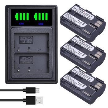 3Pcs 2400mAh BP-511 BP-511A BP 511 511A סוללה + LED סוג-C הכפול מטען עבור Canon G6 g5 G3 G2 G1 EOS 300D 50D 40D 30D 20D 5D