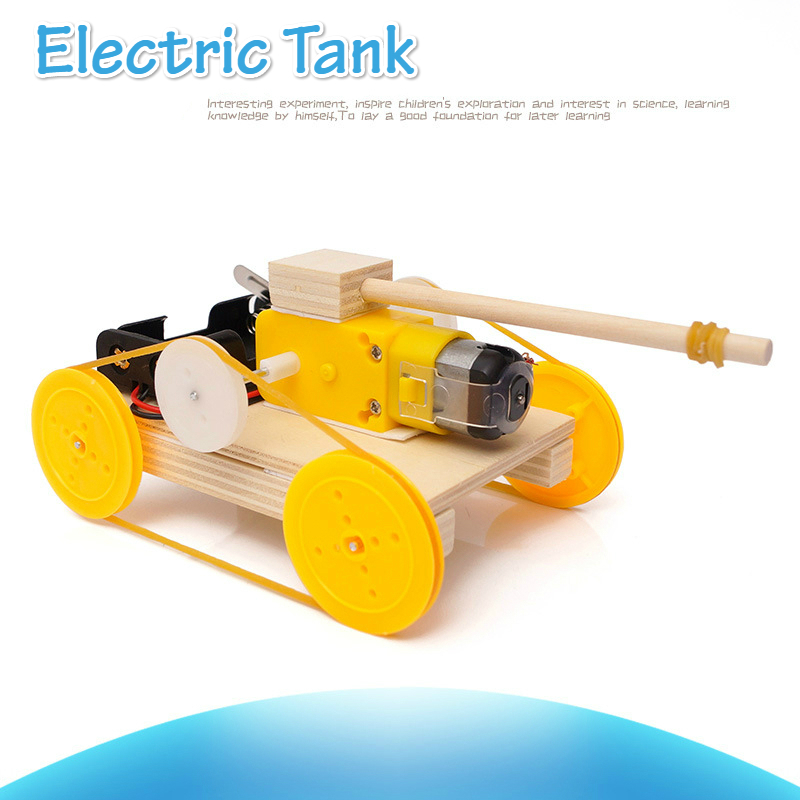 Kids DIY Electric Tank Wooden Science Model Kids Primary School Student Physics Learning Educational Toys For Children
