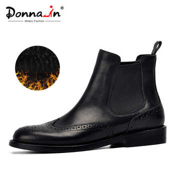 Donna-in Women Genuine Leather Boots Brogue Carved Ankle Boots Fashion Chelsea Low Heels Ladies Booties Autumn 2019 Ladies Shoes - DISCOUNT ITEM  58% OFF All Category